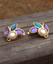 Vintage Trifari TM Earrings, Aqua Blue, Amethyst Purple, Faux Pearl, Clip - $48.00