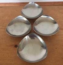 Set 4 Vtg Danish Modern Denmark 18/8 Stainless Concave Triangle Salt Dis... - $31.99