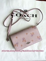 Coach 31587 Foldover Crossbody Clutch Floral Bow Print Ice Pink - $118.14 CAD