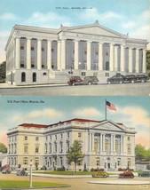 MACON, Georgia GA    CITY HALL & POST OFFICE    ca1940's Linen Postcards - $6.84