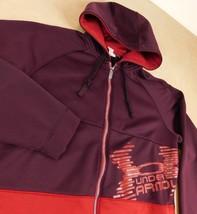 Under Armour Loose Dark Red Zip Front Hooded Sweatshirt SZ L Big Logo - $39.99