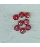 17 Vintage Japanese Red AB Finish Carved Glass Beads 10 Millimeter - $8.99