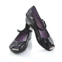 Jambu Pluto Black Patent Leather Peep Toe Wedge Sandals Shoes Womens 8.5 - $39.50