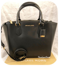 NWT MICHAEL KORS SOFT LEATHER CAROLYN LARGE TOTE BAG IN BLACK - $138.88