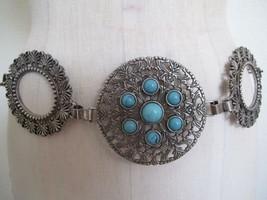 Chico's Silver Tone Chain Medallion Belt Faux Turquoise Stones L Artsy Boho - $19.99