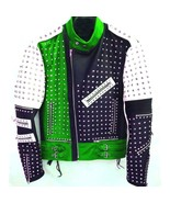 New Unique Design Full Studded Biker Leather Jacket Green Black White Co... - $189.99+
