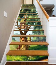 3D Cute Tree House Stair Risers Decoration Photo Mural Vinyl Decal Wallp... - $90.93+