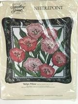 "Candamar Needlepoint Pillow Kit Tulips 14x14"" Vintage 1989 #30633 New Un... - $59.39"