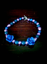 Blue and pink rose bracelet, size 8, hand made, women's gift - $13.00