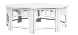 White Wood XL Coastal Regency Mod Farm Chippendale Rattan Coffee Table $1497 - $1,181.07
