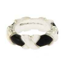 Tiffany & Co 925 Sterling Silver and Black Enamel Signature X Ring Size ... - $175.00