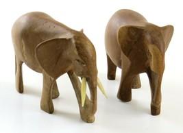 Lot of Two Rustic Hand Carved Wooden Elephant Figurines, Read - $17.81