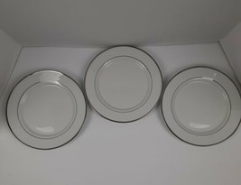 """Set of 3 Gibson plates /8.5"""" diameter/ White with silver rim line /wear ... - $14.03"""
