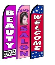 Beauty Supplies Hair Salon Welcome King Size Swooper Flag Pack  of 3 - $51.99