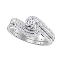 10k White Gold Princess Diamond Bridal Wedding Engagement Ring Band Set 3/8 Cttw - $699.00