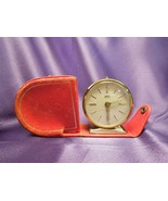 Fichter KG West Germany Alarm Clock with Leather Case Travel Wind Up Clock - $35.64