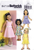 Butterick B4718 Girls Sewing Pattern Childrens Dresses Easy Sew Sizes 2-... - $6.45