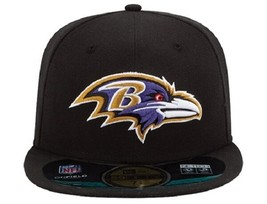 NFL BALTIMORE RAVENS NEW ERA 59FIFTY ON FIELD FITTED CAP HAT ADULT 7 1/8... - $18.75