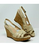 Franco Sarto Size 10 M Ivory Slingback Sandals Casey Open Toe Cork Wedge... - $18.99