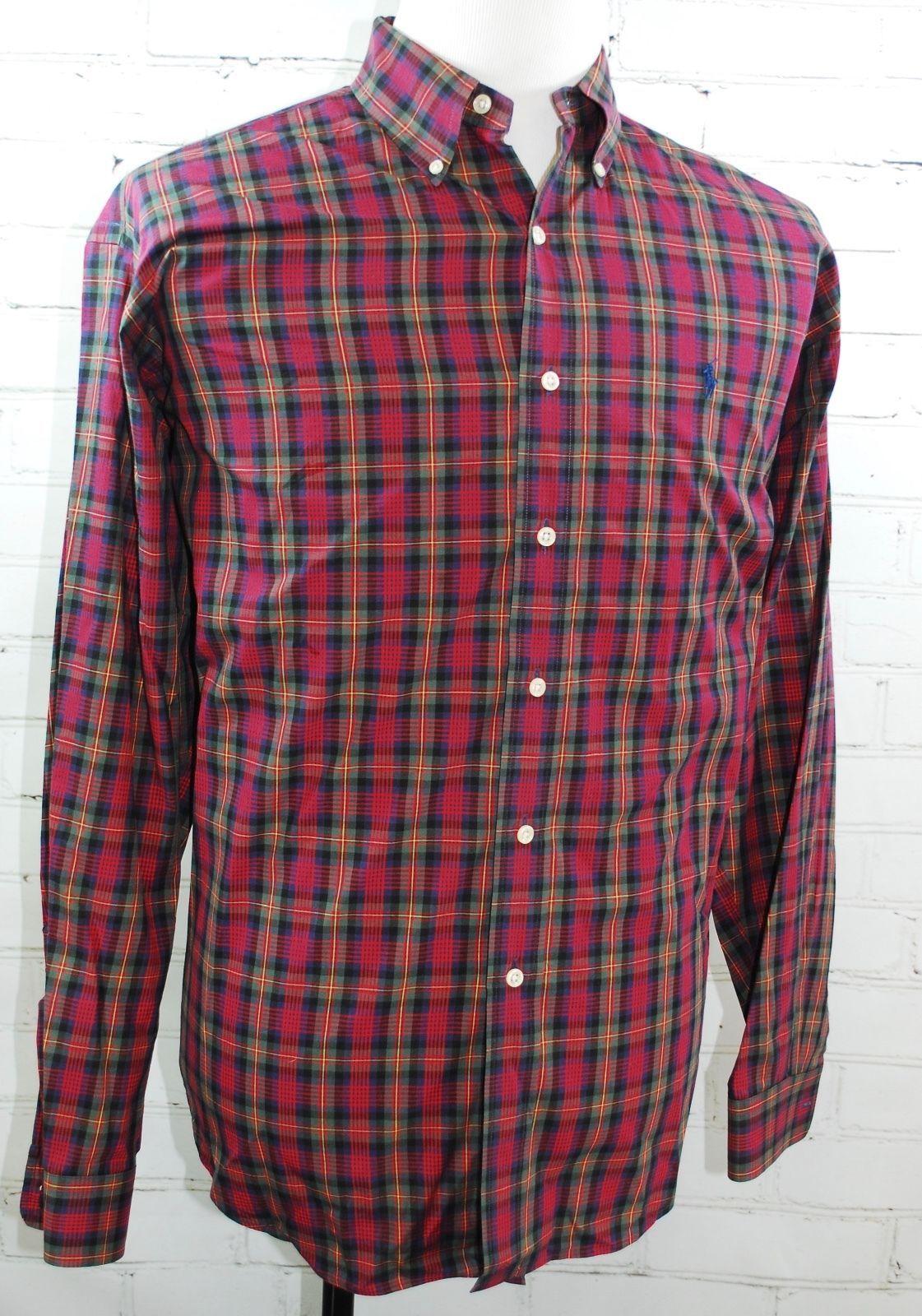 527c30682 57. 57. Previous. Ralph Lauren BLAKE Button Down Red   Navy Plaid Shirt -  100% Cotton Men s Large