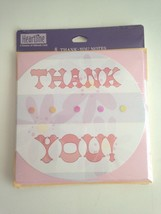 New 8 Thank You Note Cards Blank inside Heartline Div. of Hallmark Pink ... - $4.17