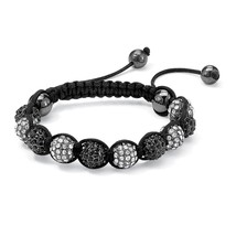 PalmBeach Jewelry Black & White Crystal Glass Ball Tranquility Bracelet ... - $14.49