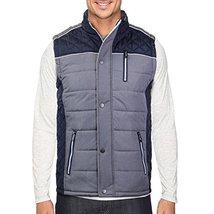 Holstark Men's Zip Up Insulated Fleece Lined Two Tone Vest (Large, Navy)