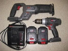 Porter Cable 18V cordless Recip saw, 2 good batteries, charger,  Drill /... - $59.56