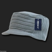 Grey Gray Knit Flat Top Jeep Cadet Visor B EAN Ie Military Hat Cap - $27.07