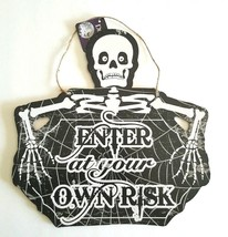 HalloweenWall Hanging Plaque Sign Holiday Decor  Enter at your own Risk ... - $14.99