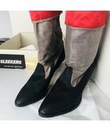 Andrew Geller Sleekers Boots Sz 10M Heels Indigo Red Waterproof shoes Co... - $24.26