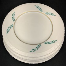 "4 Coronation Hanover China Dinner Plates 1950s 9 7/8"" Dia Green Leaf Gol... - $34.64"