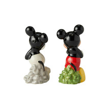 """Disney Mickey Mouse """"Then and Now"""" Salt & Pepper Shakers Set Ceramic Collectible image 2"""