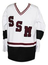 Zach Parise #14 Shattuck-St Mary's Sabres New Men Hockey Jersey White Any Size image 1