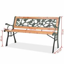 vidaXL Patio Wooden Garden Bench w/ Backrest Vintage Seat Diamond/Rose Design image 8