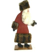 Vintage Mink Trimmed Wooden Santa Claus - $41.58