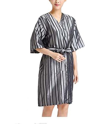 Beauty Salon Straight Strip Gown Robes Hairdressing Gown for Clients, Gray