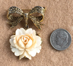 Vintage Estate Sale Bow and Flower Brooch  Pin, Carved Shell With Tiny P... - $16.00