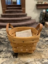 "1995 Longaberger Thyme Wooden Basket Round Leather Handles 4 3/4"" - $15.00"