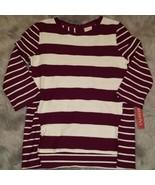 Merona Women 3/4 Sleeve Burgundy White Stripe Sz XS or XL NWT Back Zippe... - $9.99