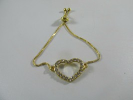 Swarovski Crystal Open Heart Tennis Slider Gold Bracelet - $15.68