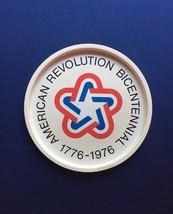 "Vintage 70s 1776-1976 bicentennial round metal 11"" tray"