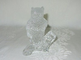 Waterford Crystal Clear Glass Owl Figurine on Branch Vtg Sculpture Paper... - $89.09