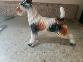 Vintage Porcelain Fox Terrier Dog Figurine Ceramic Dog Statue - $20.30