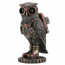 Steampunk Owl With Jetpack Statue Sculpture on Gears - $29.69