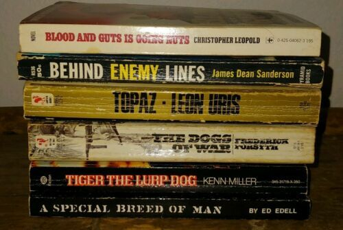 Primary image for 6 Vtg Pb Books War Novels Behind Enemy Lines Topaz The Dogs of War