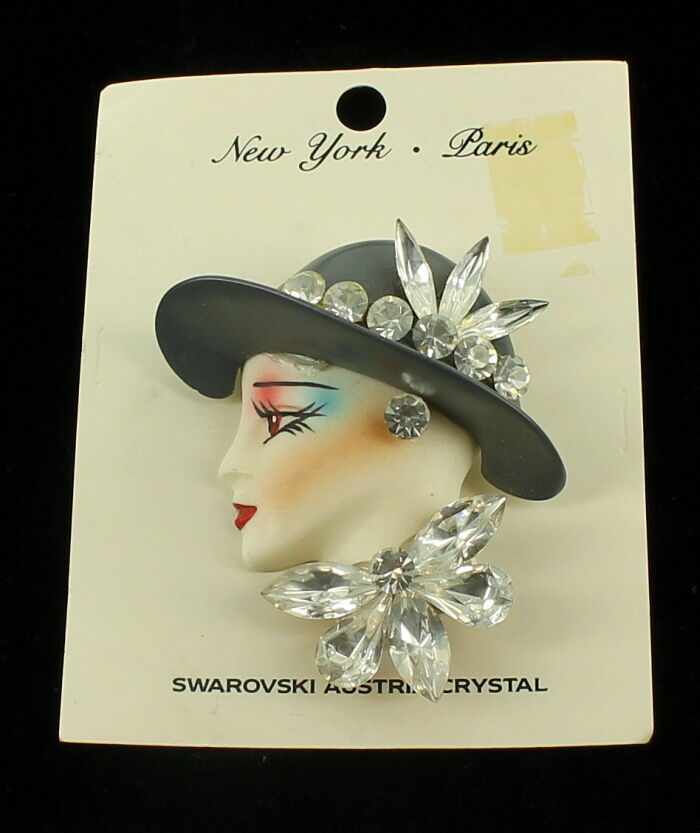 Primary image for VINTAGE STUNNING LADY DOLL FACE SWAROVSKI CRYSTAL RHINESTONES PIN ORIGINAL CARD