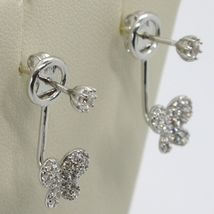 18K WHITE GOLD PENDANT EARRINGS, BUTTERFLY UNDER THE EARLOBE WITH ZIRCONIA image 3