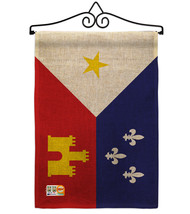 Acadiana Burlap - Impressions Decorative Metal Wall Hanger Garden Flag S... - $33.97