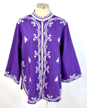 Vtg 70s Purple Embroidered Tunic Floral Top Button Down Shirt Blouse Wom... - $28.70